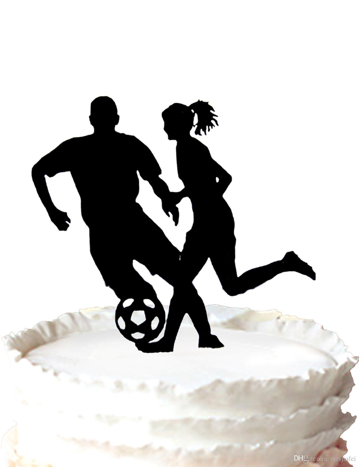Sport Theme Wedding Cake Topper - Silhouette Soccer Football, Soccer ...
