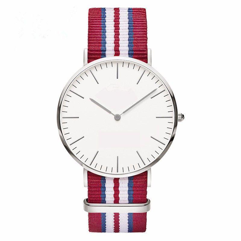 Ginebra ultra delgada Reloj de mármol de las mujeres Pulsera simple Relojes de bling de nylon Vestido de dama Relojes de pulsera de plata Reloj