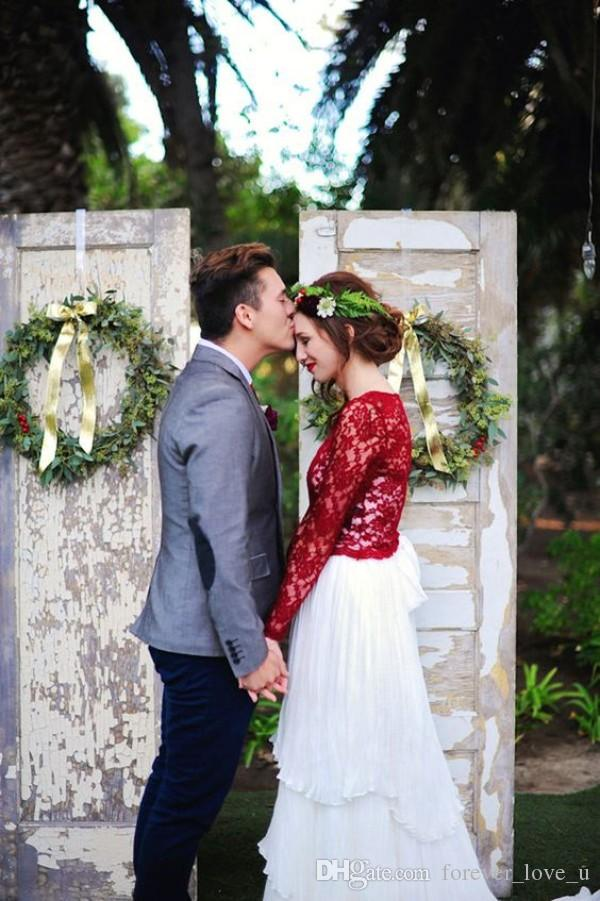 Fabulous Red and White Wedding Dresses A Line Ruched Tiered Skirt Boho Bridal Gowns Colorful Garden Brides Wear Illusion Long Sleeves