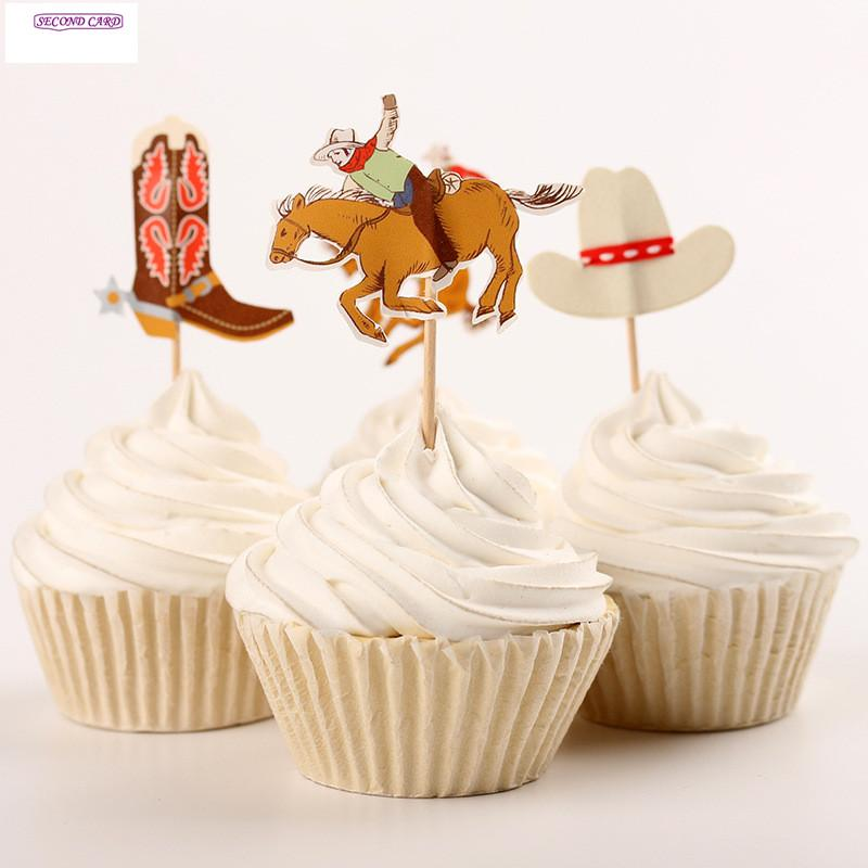 Grosshandel Grossverkauf 2016 Neue Cupcake Toppers Coole Cowboy Party
