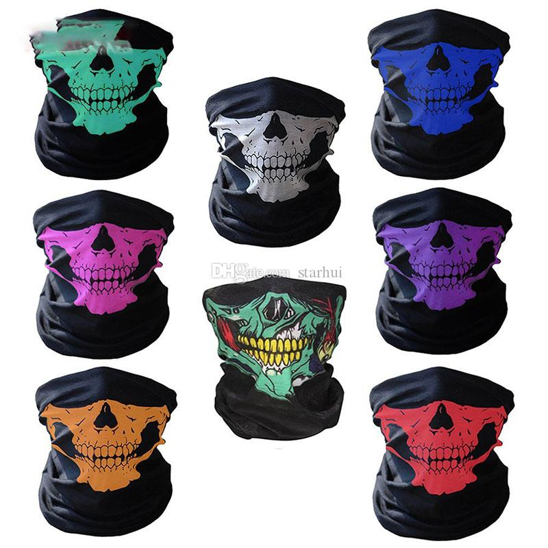 Nouveau crâne masque facial Sports de plein air Ski vélo Echarpes moto Bandana cou Snood Halloween Party cosplay Masques facial WX9-65