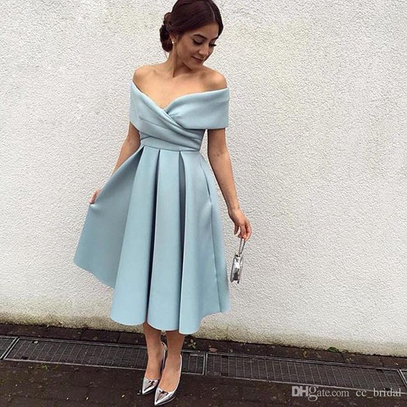 c5c94712cbc Simple V Neck Pleat Graduation Dresses For College 2016 Tea Length Short  Homecoming Dresses Cheap Ice Blue Satin Arabic Prom Evening Gowns The Best  ...