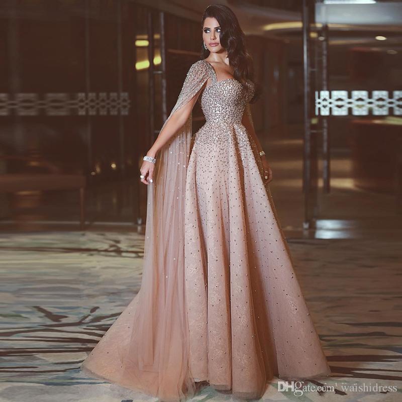 Espaguete Sexy A Linha Elie Saab Vestidos de Noite Sparkly Cristal Lantejoulas Prom Vestido Até O Chão Dubai Árabe Spcial Ocasião Vestido