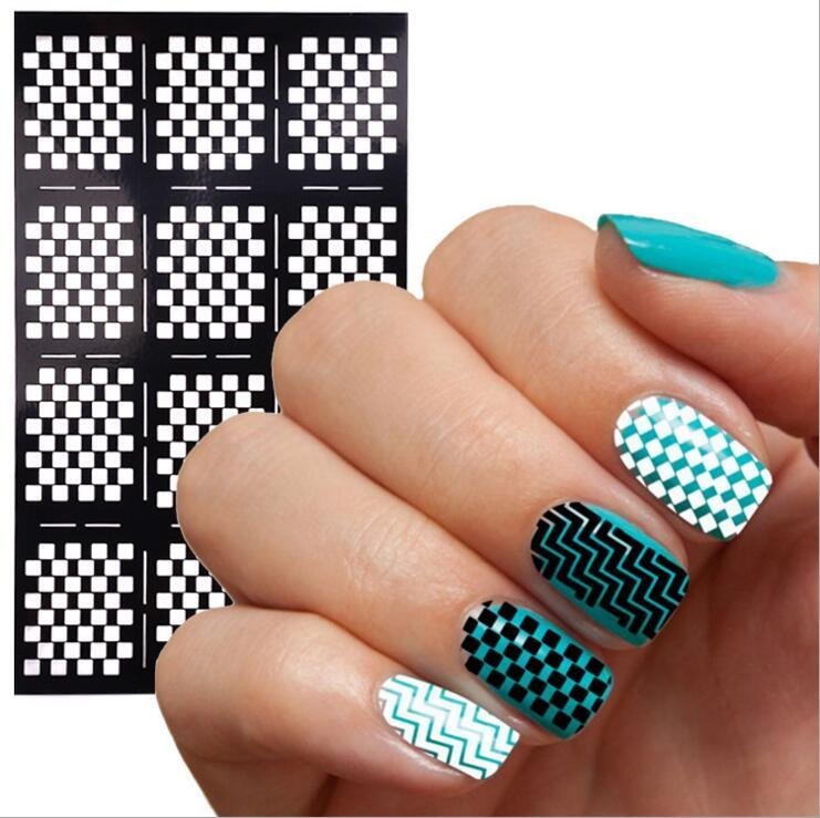 New Arrival Nail Vinyls Print Art Stencil Sticker Stickers Laser Stencils Tools 12 Tips Sheet Design Nails Fingernail Designs From