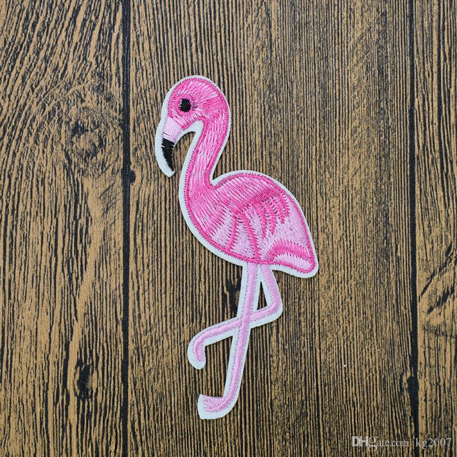 10 stücke Mode Flamingo Patches für Kleidung Taschen Eisen auf Transfer Applique Patch für Jeans Nähen auf Stickerei Patch DIY