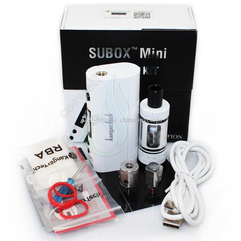 100%Quality Kanger Subox mini starter kit Sub tank mini RDA 4.5ml atomizer Clone Kangertech KBOX 50W Variable Wattage Box Mod e cig kits DHL