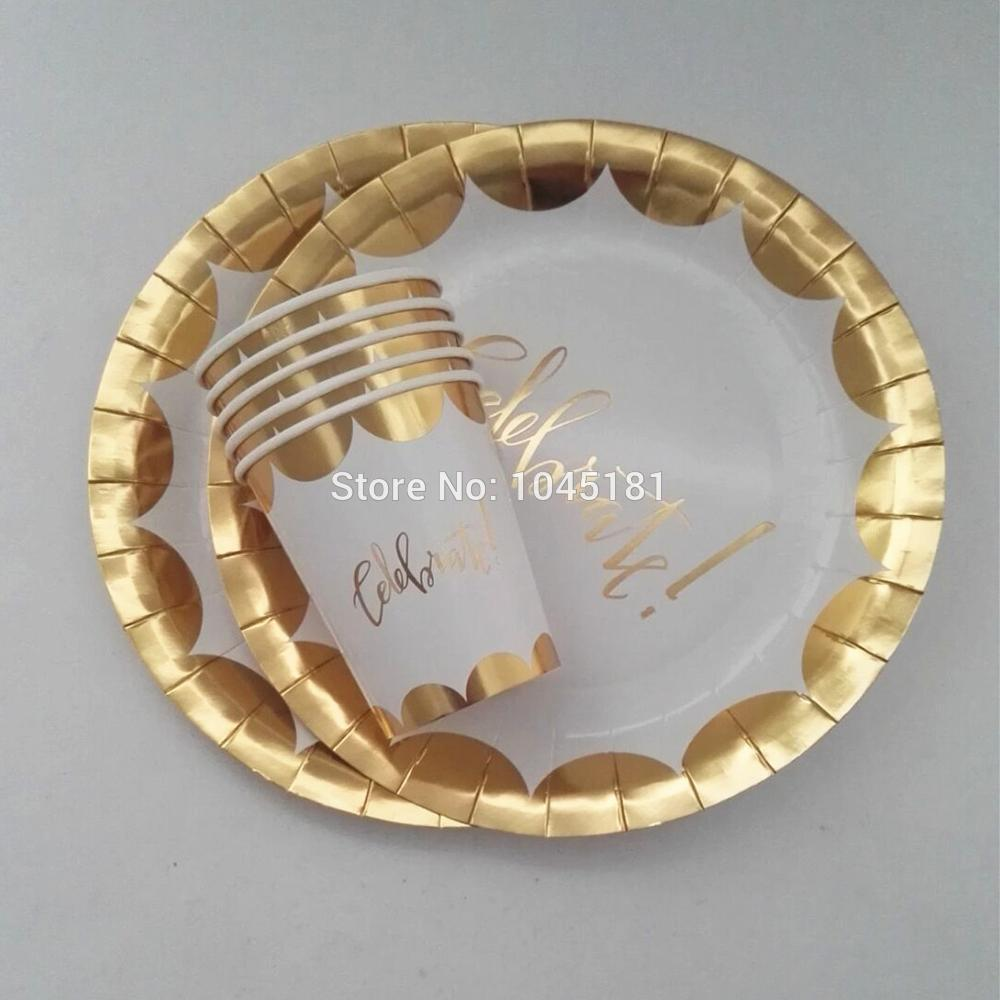 2018 2016 New Design Party Paper Plates Cups Metallic Foil Gold Scalloped Disposable Tableware For Event Party Celebration Supplies From Winhoopy ... & 2018 2016 New Design Party Paper Plates Cups Metallic Foil Gold ...