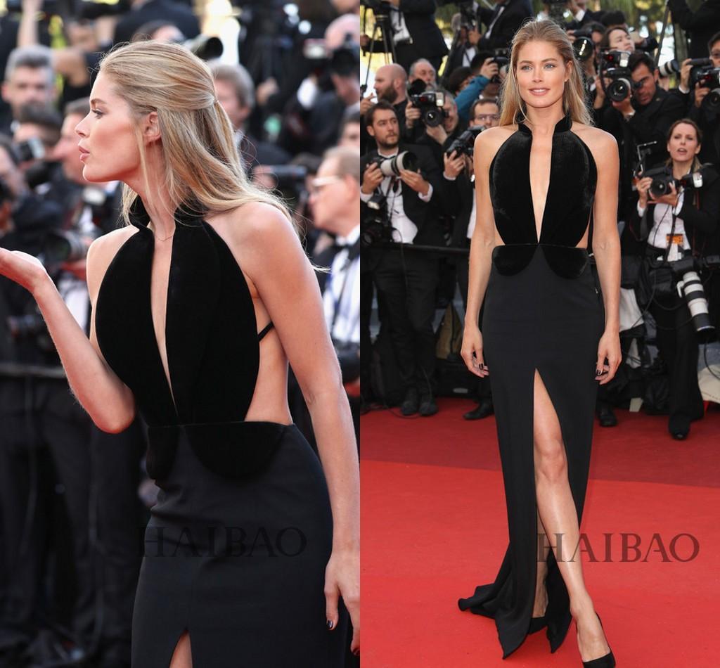 Met Gala 2019 Doutzen Kroes Celebrity Evening Dresses Black Velvet Ruffled Full Length Sheath Deep V-Neck Split Occasion Dress Prom Gowns