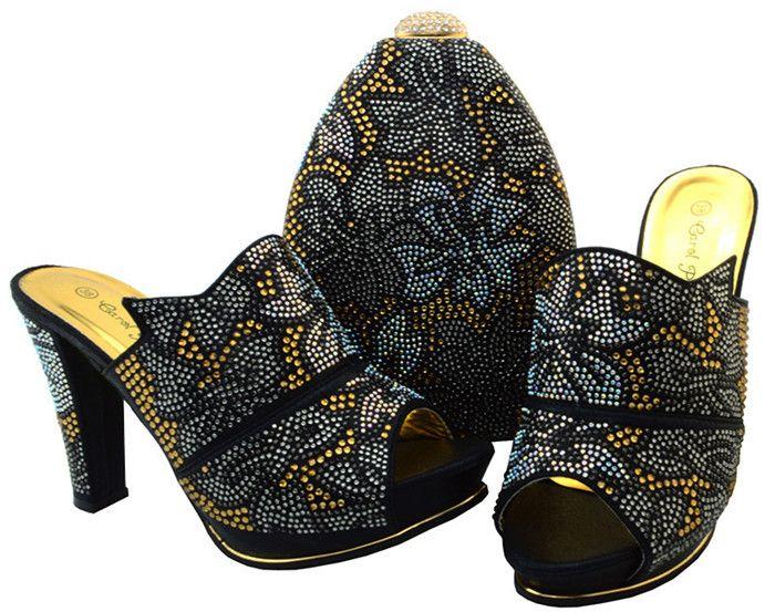 Les femmes de luxe jaunes pompes chaussures africaines match ensemble sac à main dames strass chaussures pour robe BCH-32, talon 11,5 CM