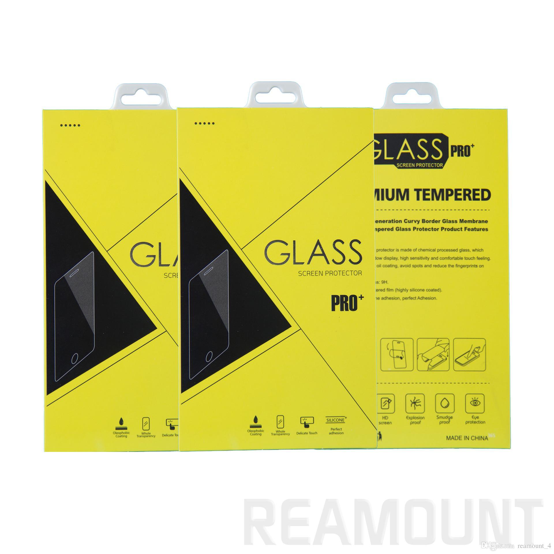 Großhandel bunte Universal-Papier-Verpackungsbox für iPhone Samsung Huawei gehärtetes Glas Luxusverpackung mit Kleiderbügel