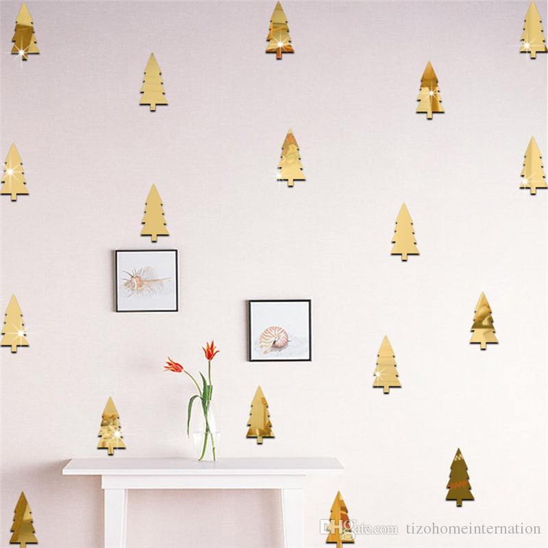 18 قطعة / المجموعة الصنوبر شجرة شجرة عيد الميلاد الديكور مرآة ملصقات نوم الاطفال غرفة التلفزيون أريكة خلفية ملصقات الحائط الزخرفية
