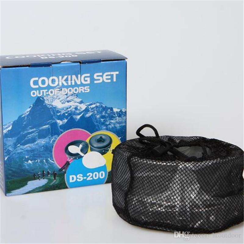 30 sätze 8 in 1 Aluminiumlegierung Outdoor Camp Küche Camping Wandern Kochgeschirr Backpacking Picknick Schüssel Topf Pan Tool Set