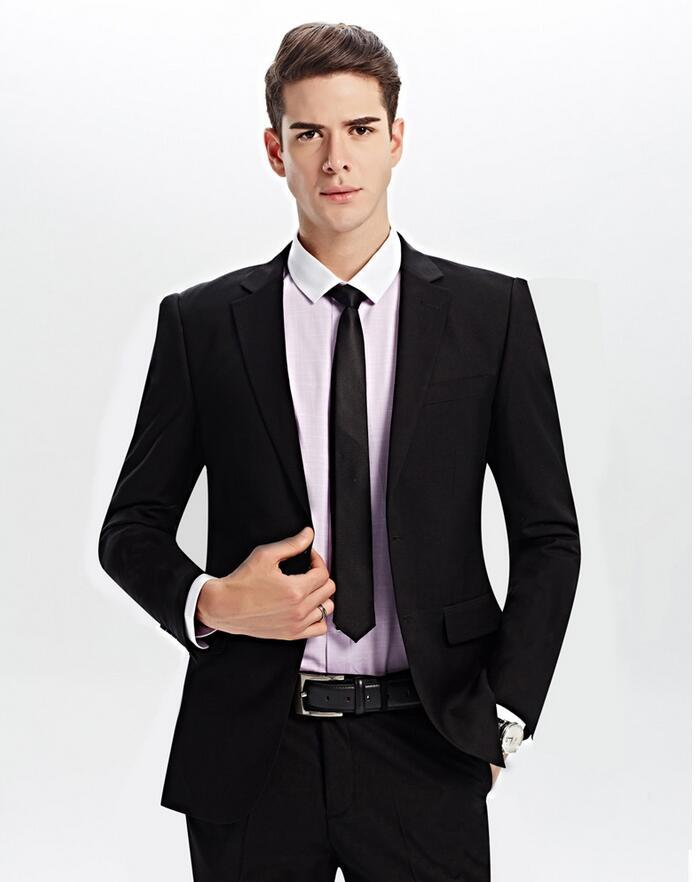 Simple style of pure black suit men 039 s