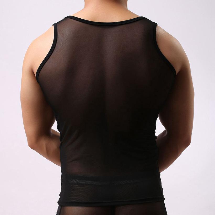 Courageux personne mens sexy débardeur pure voir à travers des chemises sans manches mens tops gilet gay Mesh Tops sport gym débardeur