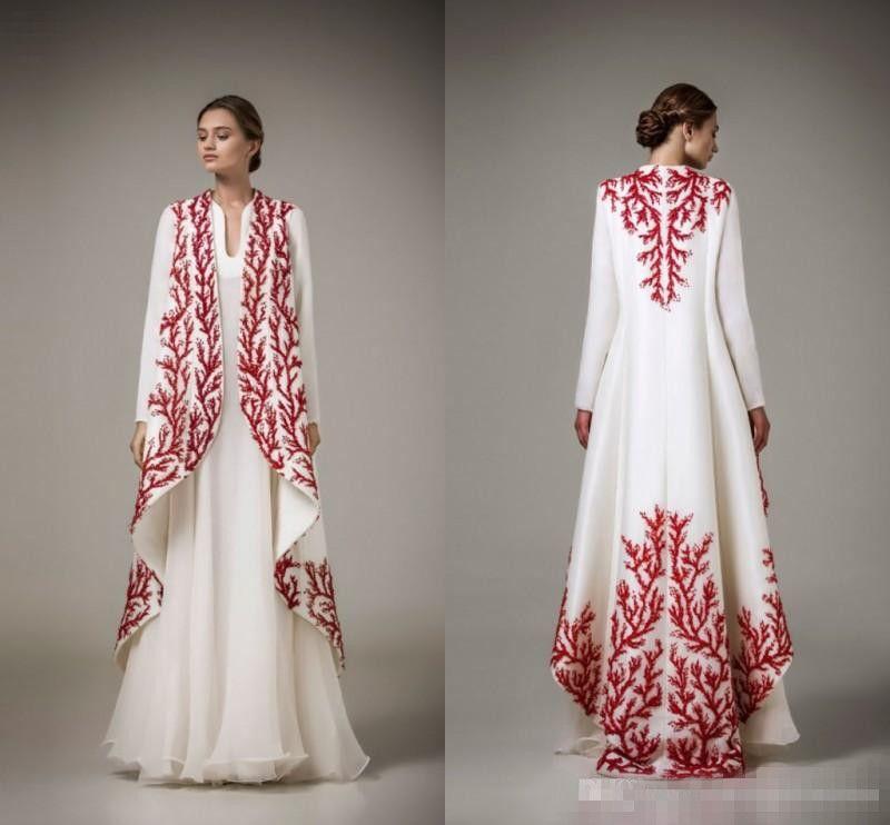Kaftans Árabe 2017 Abayas Tradicionais para Muçulmano Alto Pescoço Branco Chiffon Bordado Vermelho Árabe Vestidos de Noite com Casaco Formal Vestido de Mãe