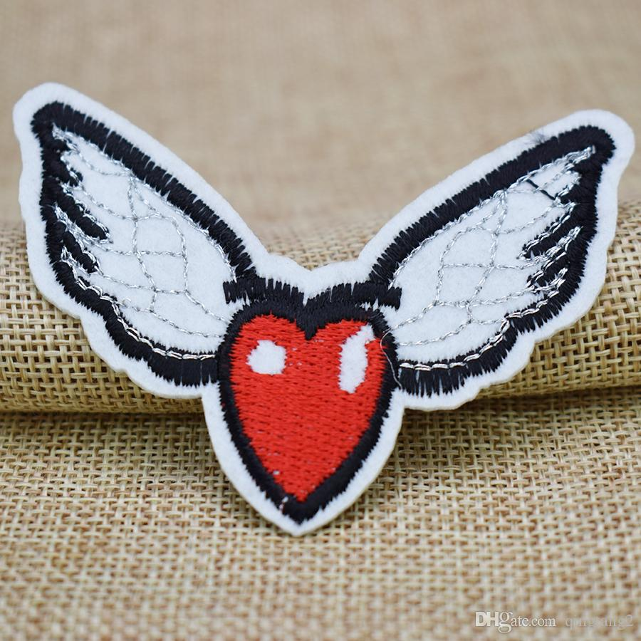ali a forma di cuore ricamo patch abbigliamento ferro patch vestiti applique accessori cucire adesivi su vestiti ferro sulla patch