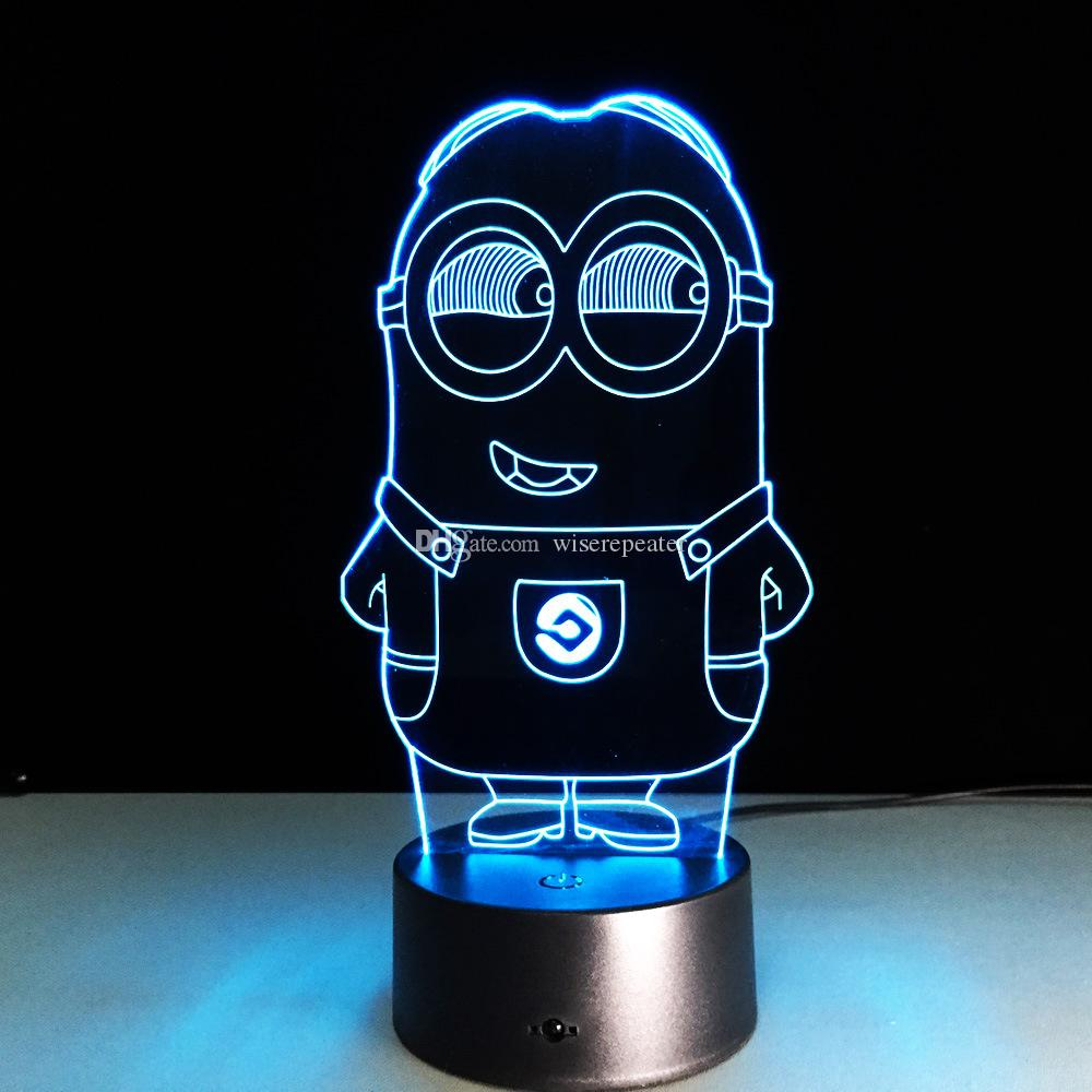 2016 Minion Style 3D Optical Illusion Lamp Night Light DC 5V USB Charging 5th Battery Wholesale Dropshipping