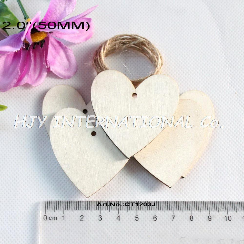 2018 50mm Natural Wood Hearts Wedding Heart Tags Cutouts Rustic ...