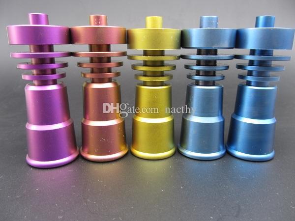 Chiodi di titanio GR2 regolabili colorati Chiodi di titanio senza testa T-001 T-003 14mm e 18mm Maschio o Femmina comune Bong di pipa ad acqua fumatori
