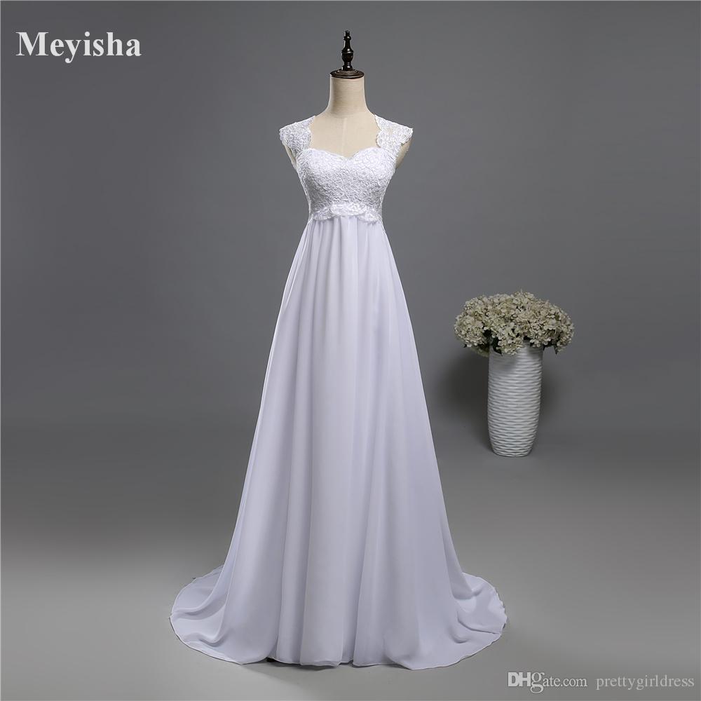 04a602ec85 Discount ZJ9060 White Ivory Beach Lace Chiffon Wedding Dresses 2017 With  Little Train Bridal Dresses Plus Size 2 26W Custom Made Formal Dresses  Wedding ...