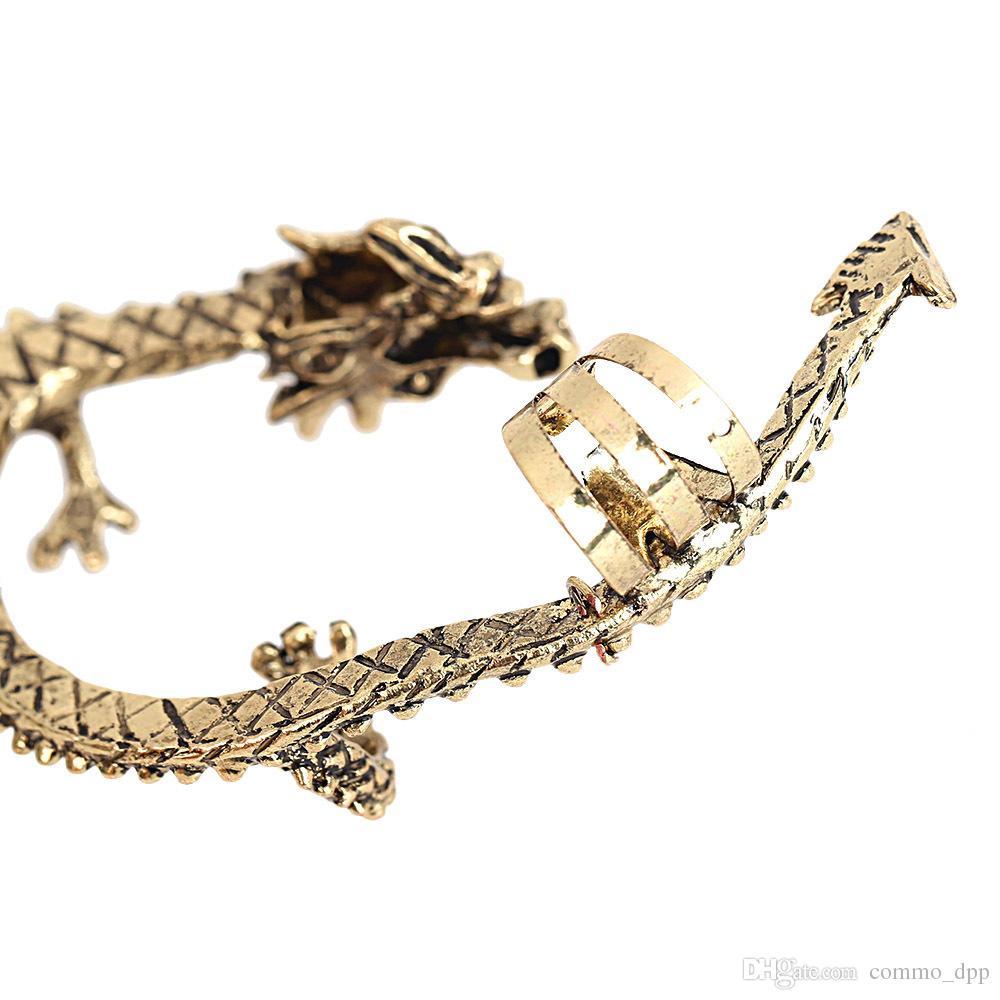 الأزياء المعادن كليب الأذن الكفة مربط المرأة الشرير نمط التفاف التنين القرط no ثقب الأذن للمجوهرات girlladies
