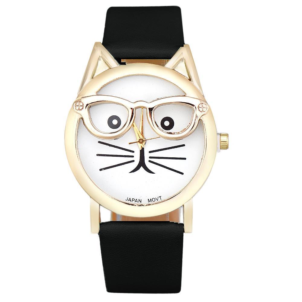 f7550fbbb7d Novo Design Senhoras relógios Montre femme Bonito Óculos Gato Analógico  Quartz Dial Relógio De Pulso Das Mulheres Se Vestem Relógios Relogio  feminino