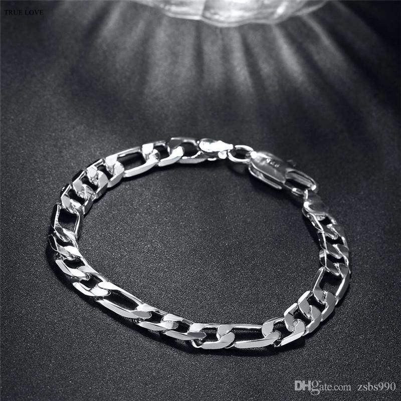 Hochwertiges 925 Sterlingsilber überzog Figaro Kettenarmband 8MMX20CM Art und Weisemannschmucksachen des niedrigen Preisgroßverkaufs freies Verschiffen
