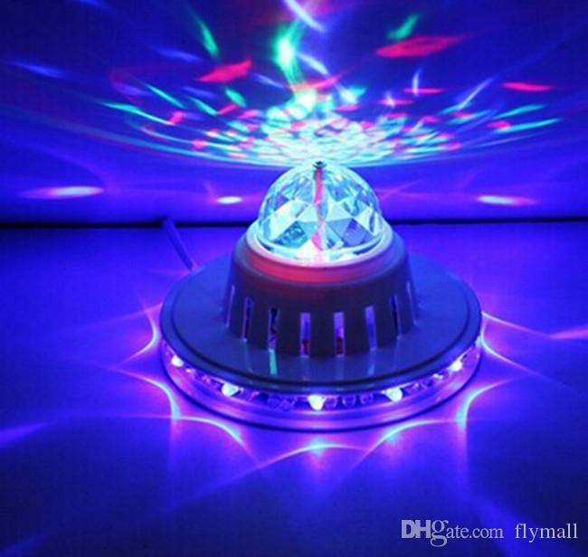 48LEDs 8W Rotating RGB LED Bulb Color Changing Crystal Magic Sunflower Ball Light Led Effects RGB Crystal Stage Light for Xmas Party Disco