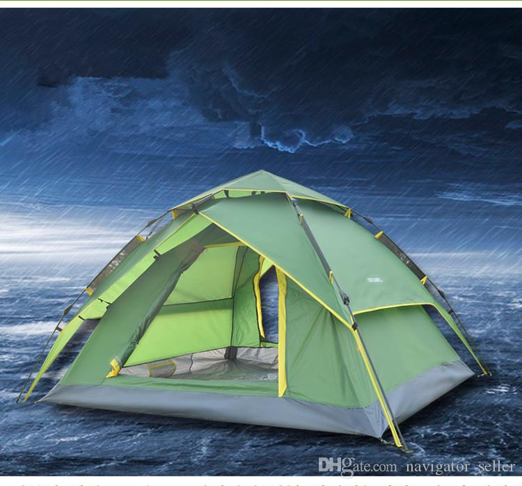 Quick Automatic Tent Opening Hydraulic Automatic Tent C&ing Shelters Waterproof Sunny Double Deck Protective Outdoors Tents For 3 4 Person No Kill Shelter ... & Quick Automatic Tent Opening Hydraulic Automatic Tent Camping ...