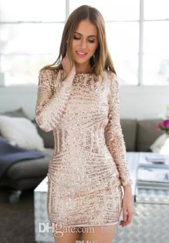 Rose Gold manga larga con espalda abierta Bodycon lentejuelas vestidos de fiesta 2018 hasta la rodilla vestidos de fiesta moda Prom Vestido de Fiesta personalizada