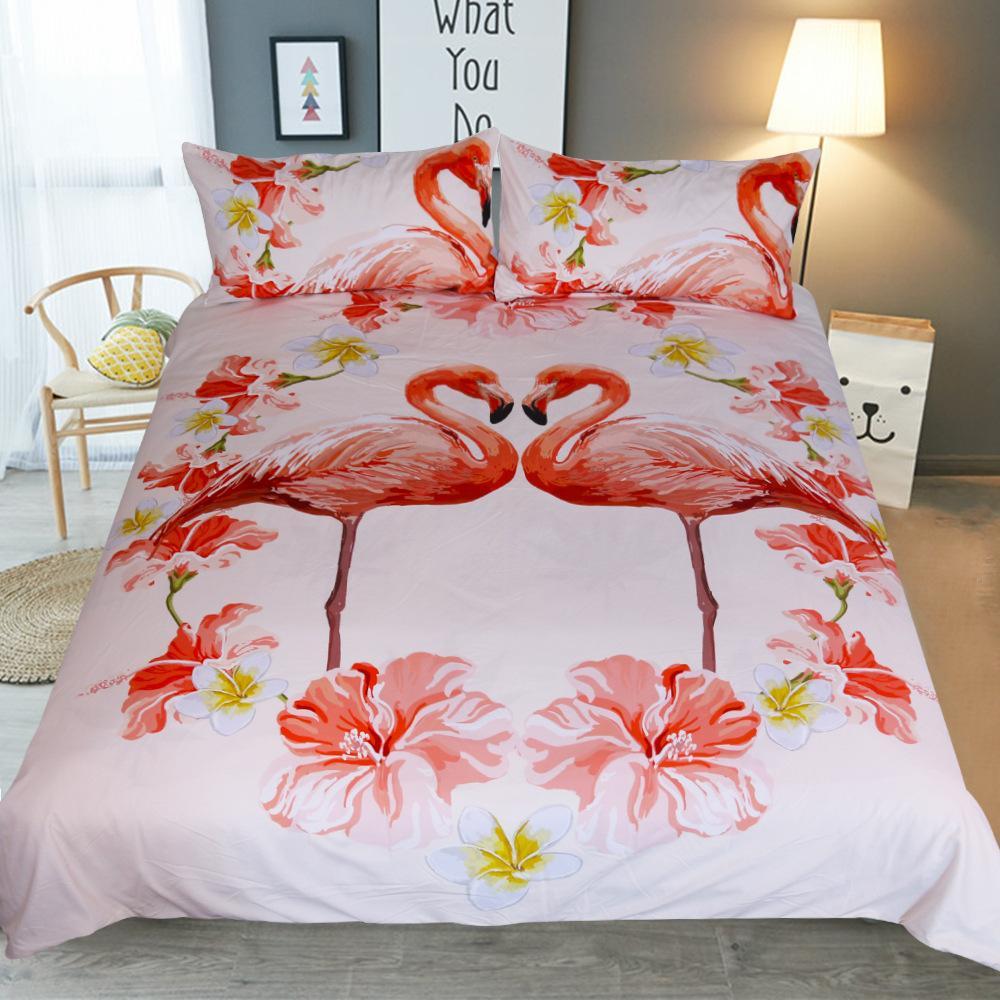 gro handel flamingo bettw sche set tropische pflanze bettbezug twin full king size bett set. Black Bedroom Furniture Sets. Home Design Ideas