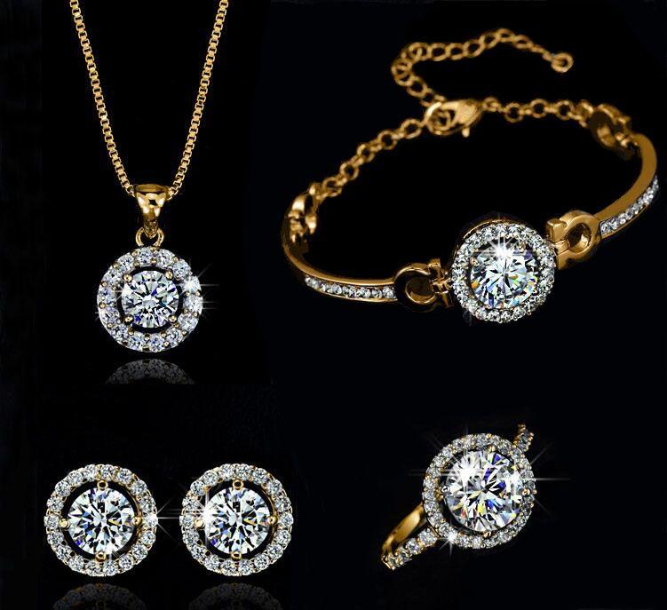 Mode Luxus 18 Karat Gold Silber Überzogene Österreichische Kristall Halskette Ohrringe Ring Schmuck Set für Frauen Mit Swarovski Elements Hochzeit Set