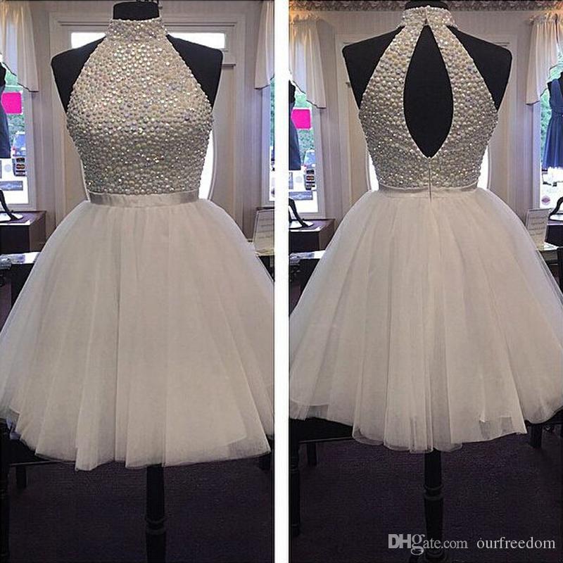 2019 blanc cristal scintillant perlé robes de soirée Halter Puffy Tulle pour junior filles robes de soirée vente chaude robes de graduation