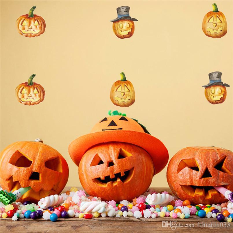 1 компл. 24 шт. счастливый Хэллоуин тыква ведьма стикер стены съемный деколь Декор окна номер украшения