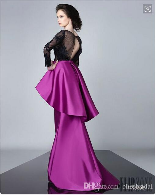 2016 FOrmal Fushia Satin Peplum Robes de Soirée Gaine Manches Longues Illusion Appliques Noir Robes de Bal Sexy Cut Out Plissée Parti Robes