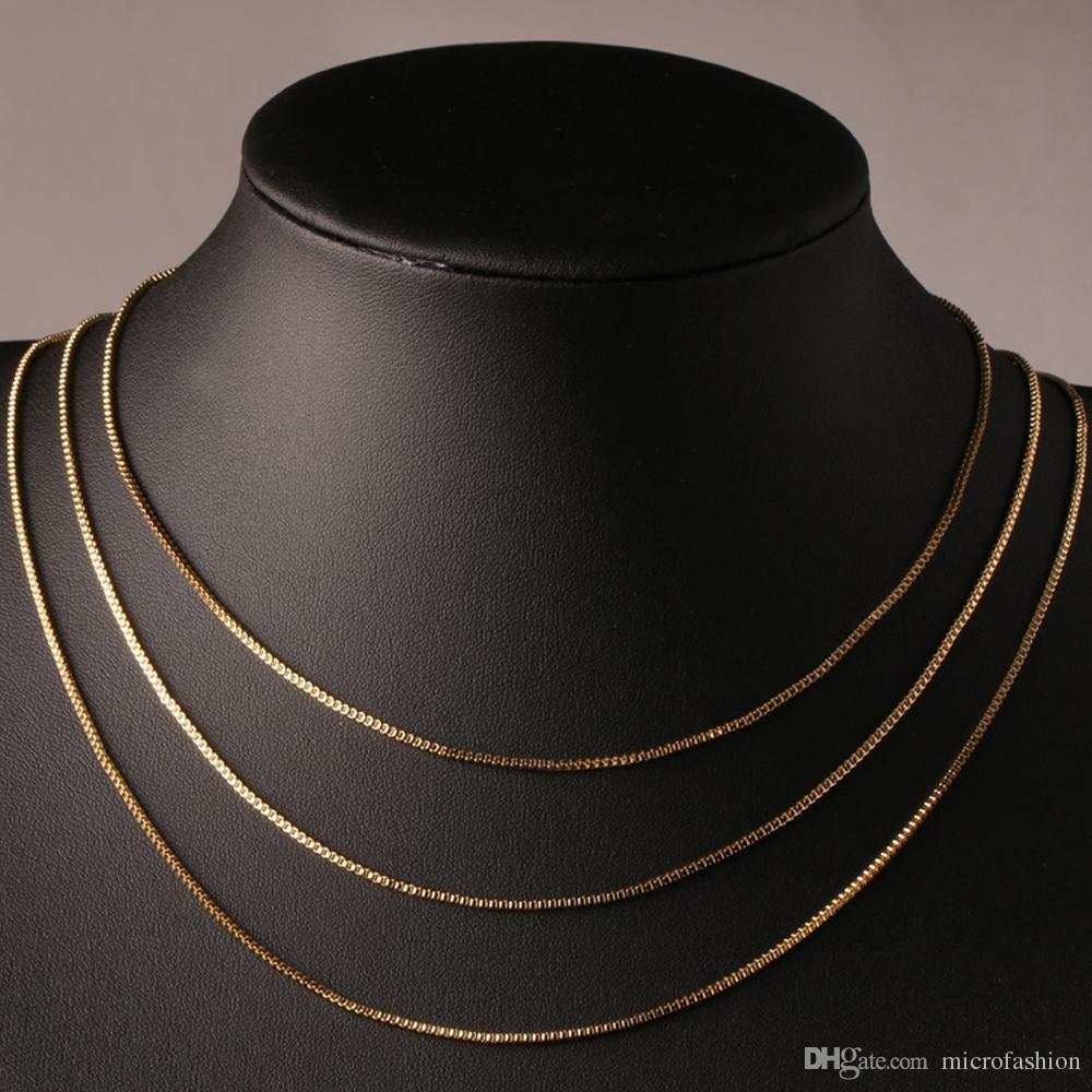 الأزياء مربع سلسلة 18 كيلو مطلية بالذهب سلاسل الصرفة 925 الفضة قلادة سلاسل طويلة مجوهرات للأطفال بوي بنات إمرأة رجل 1 ملليمتر 2016