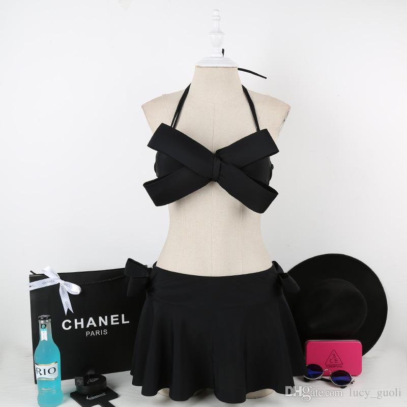Women Black Sexy Swim Wear Solid Swimwear Brazilian Bikini Big Bow Bandeau Beach Wear Halter Swimsuit Push Up Bathing Suit Free short skirt