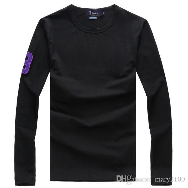 Polo homme t-shirts col rond manches longues t-shirt polo t-shirt broderie polo 3 mots de vêtement homme marque 100% Contton Tops