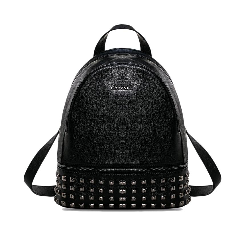 Best Quality Top Layer Black Leather Backpack For Girl Studs ...