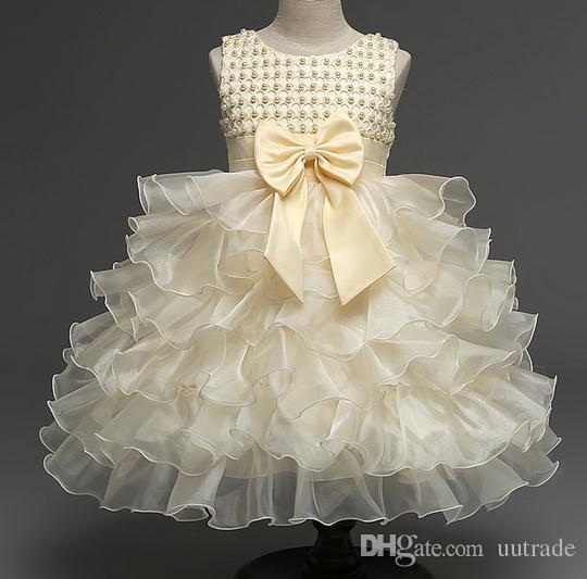 0-2yrs новорожденный 2016 ребенок цветок жилет Крещение летние платья Крещение платье дети девушки лук партии Принцесса свадебное платье девочка одежда