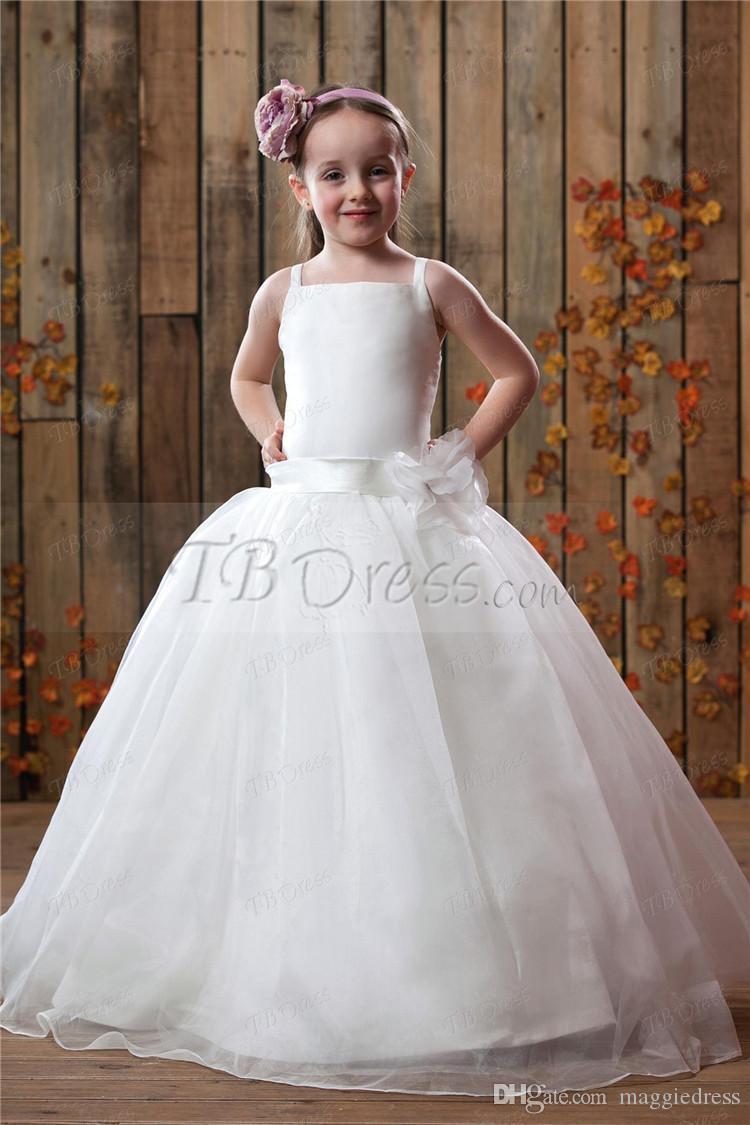 Flor chica spaghetti tul piso longitud flores hechas a mano colmena 2016 niñas vestido blanco flor niña vestidos junior dama de honor vestidos de las muchachas