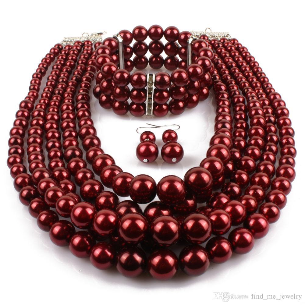 빨간색 모조 진주 신부 보석 세트 여성 패션 웨딩 선물 고전 민족 목걸이 초커 목걸이 팔찌 귀걸이 세트 도매