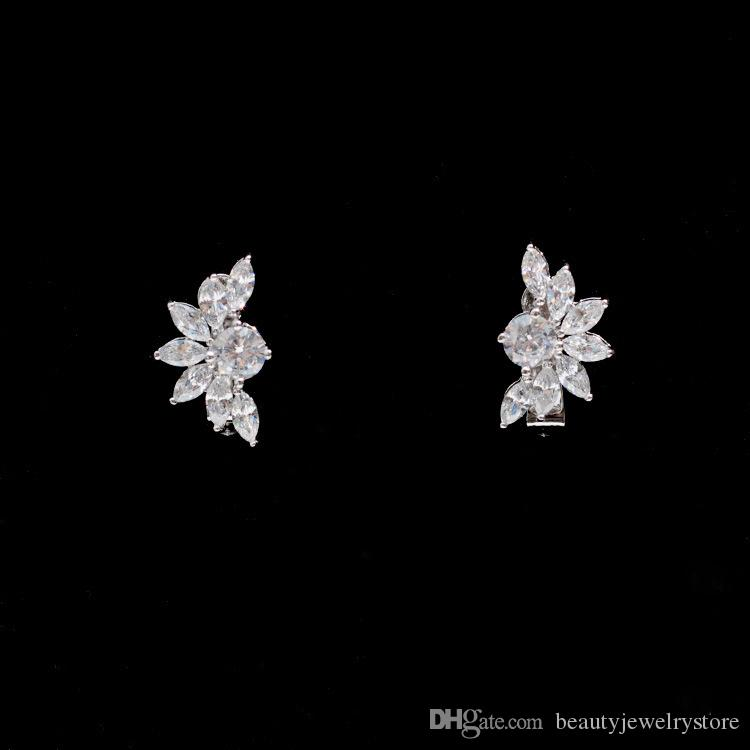 Flowers Earrings with Necklace Simple Wedding Jewelry Sets Sparkly Zircon Women's Party Jewelry Custom Dress Accessories