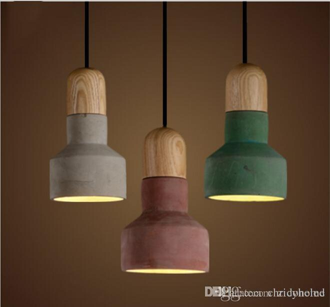 New Arrivals Japanese Style Cement Pendant Light With Lampshade Warm Loft Vintage American Countryside Lamps Industrial Restaurant Lighting