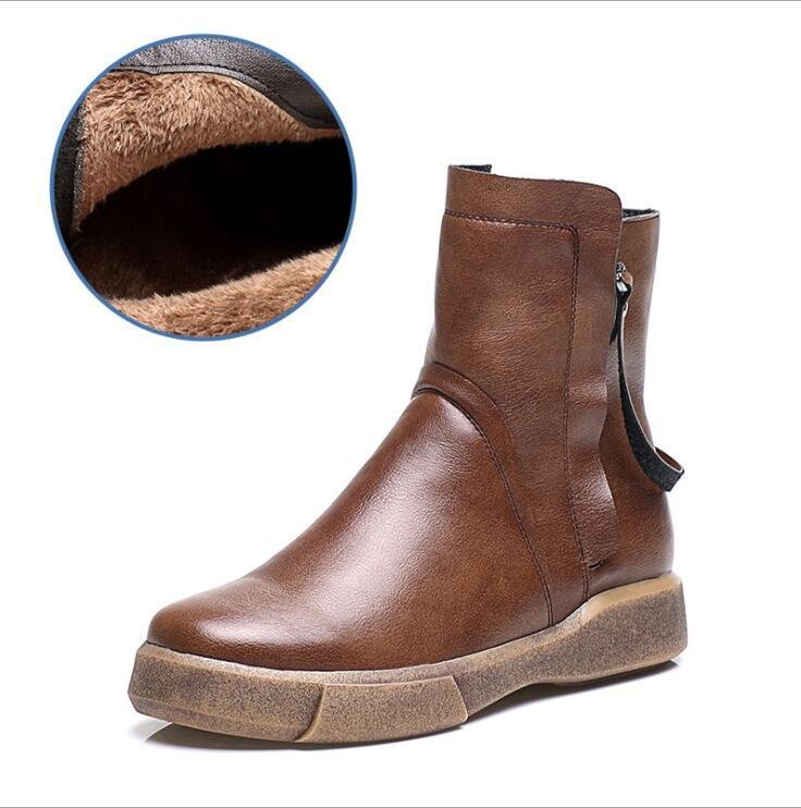 New 2017 Fashion Autumn Winter Boots Women Classic Zip Ankle Boots Warm Plush Leather Martin Boots Women Shoes