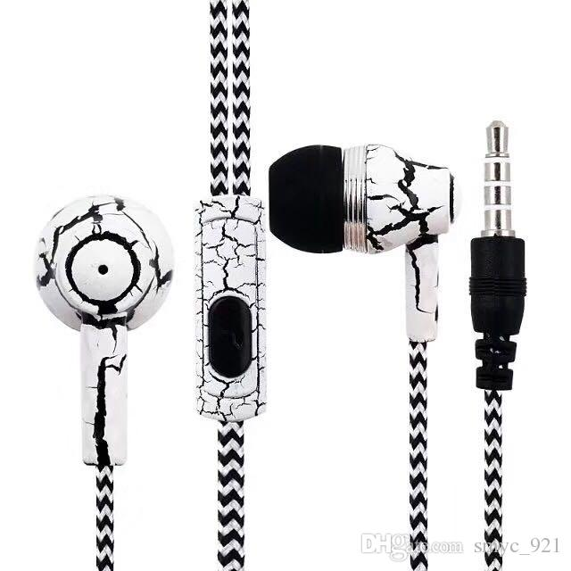 Headphones in-ear earbuds 3.5mm earphone cool crack design stereo headset braided earphones with mic SF-A16 wholesale