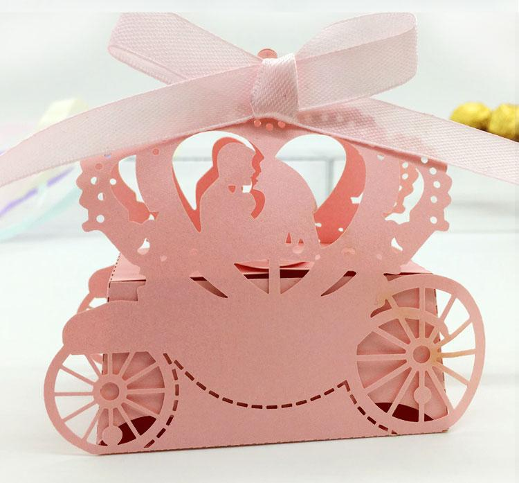 MR&MRS Laser Cut Hollow Carriage Party Favors Boxes Gifts
