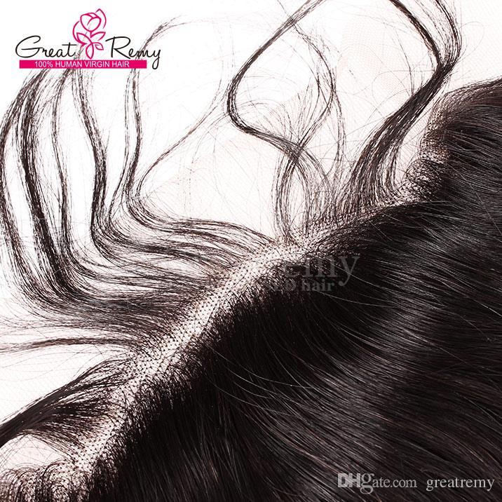 13 * 4 oreja a oreja 100% Brasileña de la onda del cuerpo superiores de cierre superior sin procesar Frontales del cordón postizos de encaje frontal cierre del cabello humano