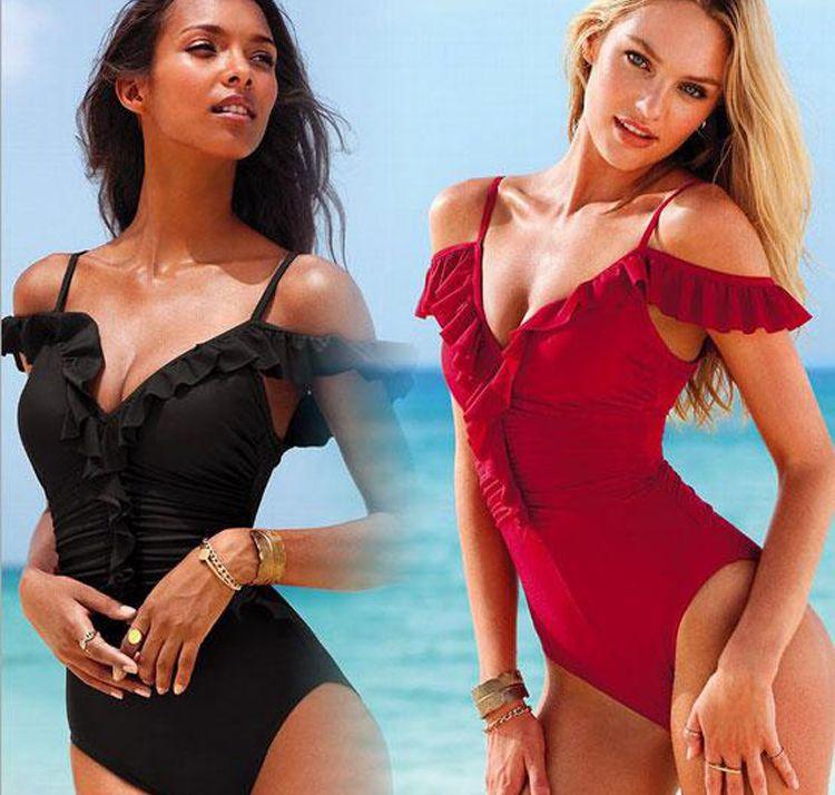 New hot women girls flounced skirt monokini black red sexy straps one piece swimsuit swimwear for woman