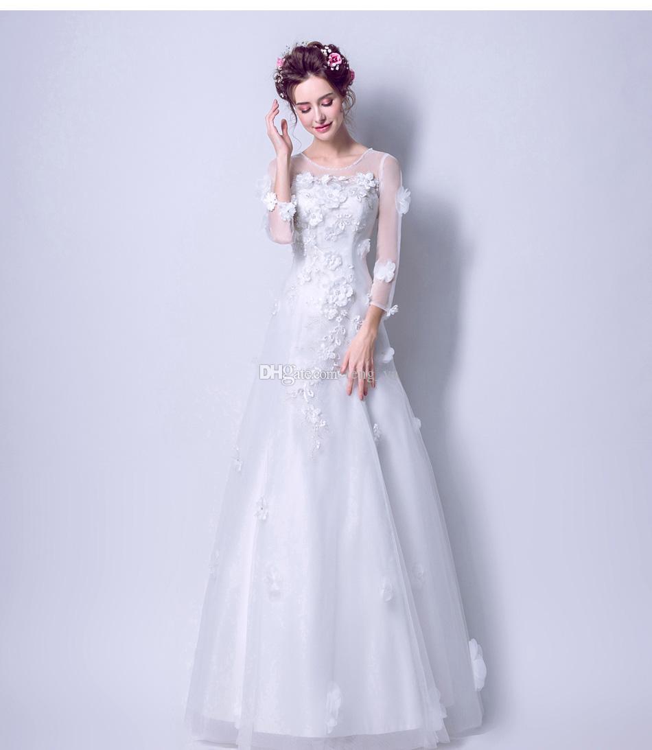 Ready To Be Sent Handmade Flower Long Sleeves Wedding Dresses TY1851
